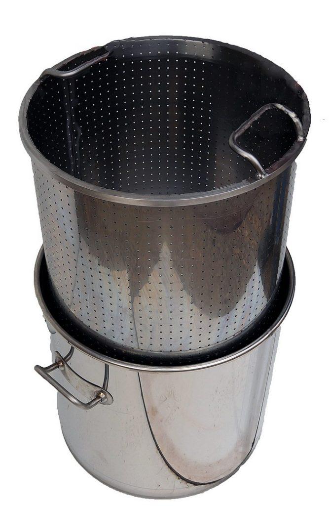 CUVE INOX GAZ - 20 à 60 litres - panier perforé