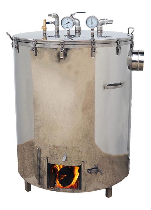 CUISEUR VAPEUR alimentaire inox - chauffe BOIS - 300 et 500 litres